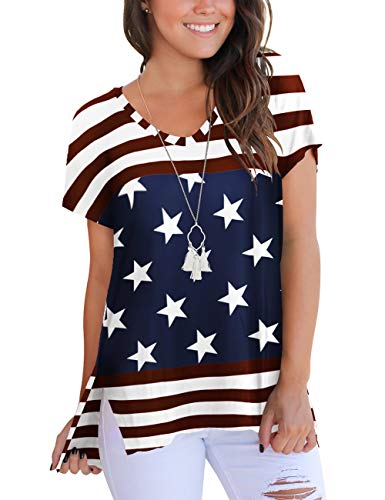 4th of July Women's American Flag Tops Stripes Patriotic T Shirts Color Block S