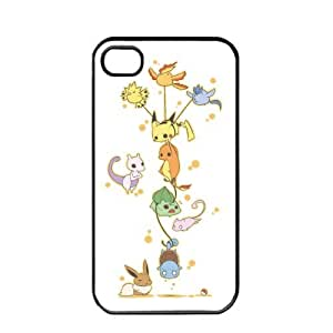 Pokemon Popular Cute Pikachu Charmander Bulbasaur Mew Eevee Mewtwo Apple iPhone 4 4S TPU Soft Black or White Cases (Black)