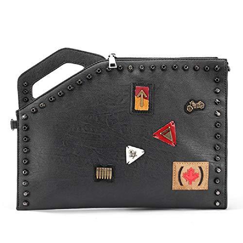 de Hombro de Rivet Bolso Trende ZHRUI Hombro Negro Bolso Hombre de Bolso Messenger Leisure Negro Print Pattern Bag Bolso Handbag Pvzvn5wx