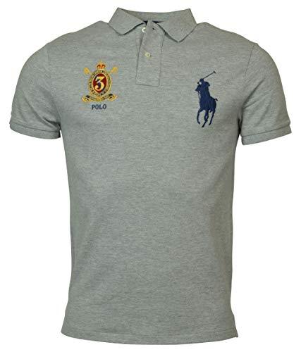 Custom Fit Crest Polo - Polo Ralph Lauren Mens Custom Slim Fit Big Pony Crest Polo Shirt (Large, Grey Heather)