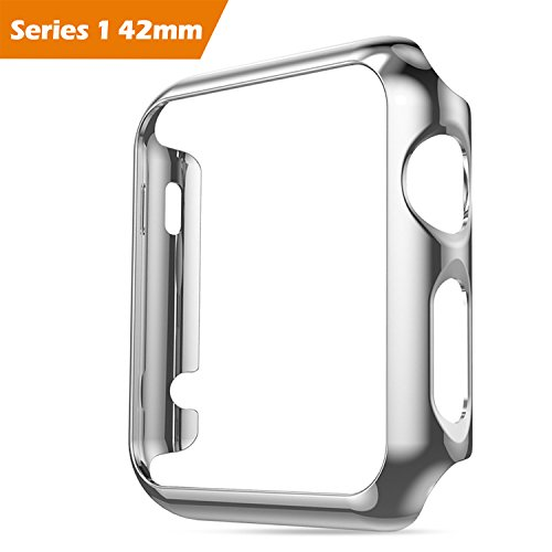 For Apple Watch iWatch Series 1 Cover Case Screen Protector Glass 42mm,Honest kin Protective TPU Smart Watch Case Cover Skins for Apple Watch Series 1 - Silver
