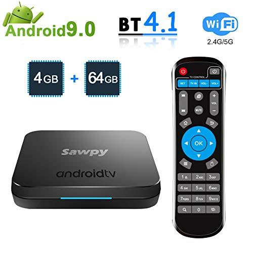 Sawpy KM9 Android 9.0 tv Box 4GB RAM LPDDR4 + 64GB ROM Smart Network Set Top Box 2.4GHz/5GHz WiFi 4.1 Bluetooth 4K Smart…