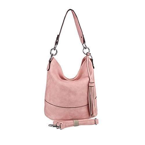 OBC DAMEN TASCHE HOBO-BAG Metallic Shopper Umhängetasche Handtasche Schultertasche Henkeltasche Beuteltasche CrossOver Tote-Bag (Black 29x25x17) Pink 29x25x17