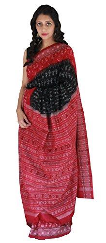 Indo Mood Exclusive Indian Hand Woven Black & Red Sambalpuri Ikat Saree With Warli Motif (Black & Red)