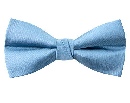 Spring Notion Men's Solid Color Satin Microfiber Bow Tie Steel Blue