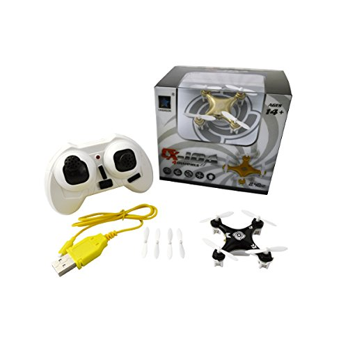 Afirst Bundle of Cheerson CX-10A CX10A New Version Headless Mode 2.4G 4CH 6 Axis RC Quadcopter RTF + Props Guards+ Motors + Blades (Black,Right Hand Throttle)