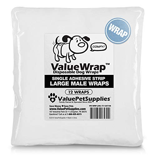 - ValueWrap Disposable Male Dog Diapers, 1-Tab Large, 12 Count - Absorbent Male Wraps for Incontinence, Excitable Urination & Travel | Fur-Friendly Fastener | Leak Protection | Wetness Indicator
