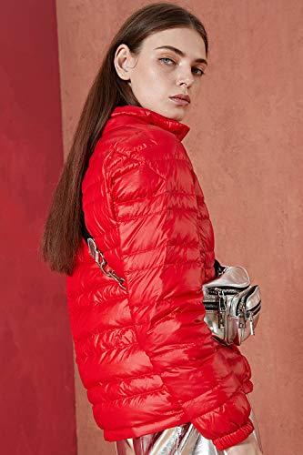 Pour Montant D'hiver À Bmeigo Glissière Red Femme léger Duvet Col En Manteau Ultra twSxzAqS6R