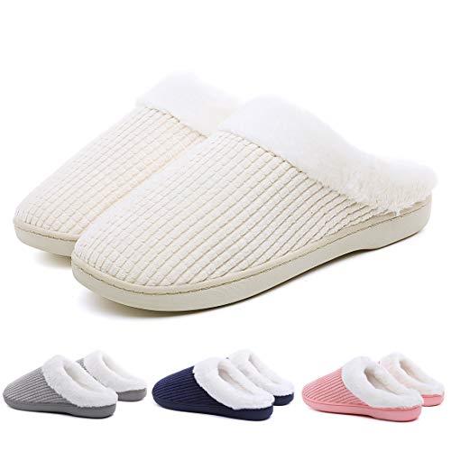 Travel Beige Outdoor Memory Fleece Indoor for Slippers Foam Striped Men Casual Slippers Women House Hotel Shoes Winter w6qS7fa