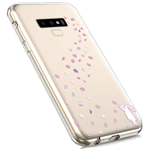 MoreChioce Galaxy Note 9 Silicone Case, Fashion Creative Painted Pattern Design Slim Transparent Silicon Protective Cover Compatible with Galaxy Note 9 + 1x Blue Stylus Pen - Rabbit