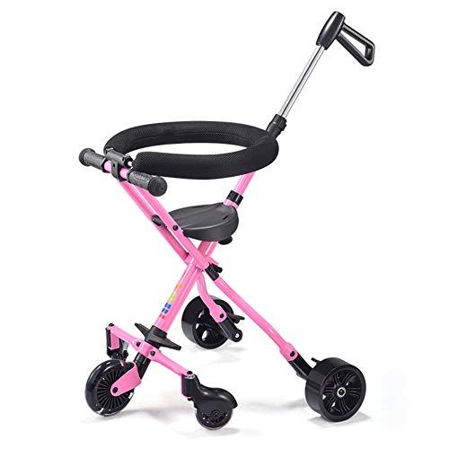 Trolley de los niños cinco ruedas, plegable luz portátil bebé 1-3-6 años de edad mini triciclo con sistema de seguridad y...
