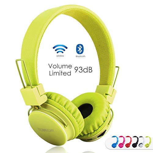 Kids Bluetooth Headphones Foldable Volume Limiting Wireless/Wired Stereo On Ear HD Headset with SD Card FM Radio in-line Volume Control Microphone for Children Adults (Green)