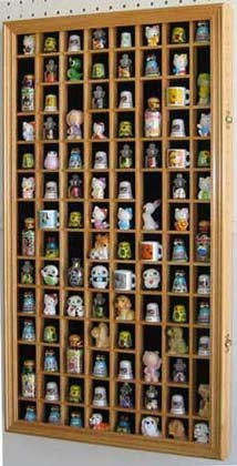 - 100 Thimble Display Case Holder Wall Cabinet Shadow Box, with Real Glass Door, Felt Interior Background-Oak Finish (TC100-OA)
