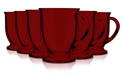 Anchor Hocking 16-Ounce Café Mug Beverage Set, Set of 6. Full color Red. (Glass Footed Mug)