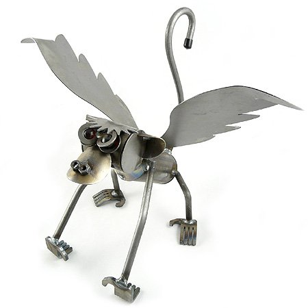 Yardbirds Flying Monkey - American Made Recycled Metal Garden Sculpture (Indoor/Outdoor)