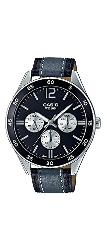 Casio Racing - Casio MTP-E310L-1A1V Men's Racing Black Grey Leather Band Multifunction Watch