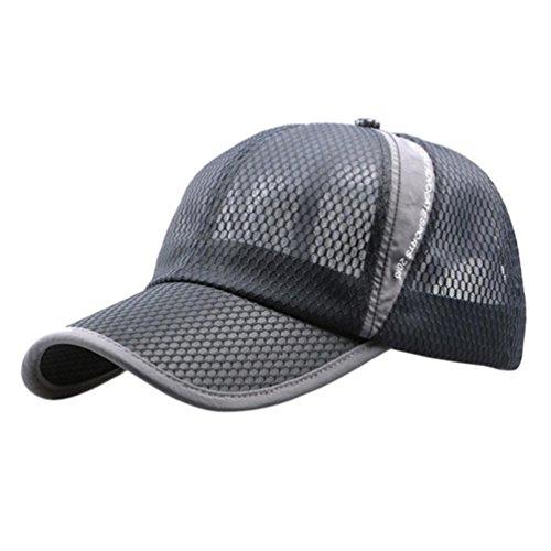 (Unisex Breathable Quick Dry Mesh Baseball Cap Sun Hat (Gray))
