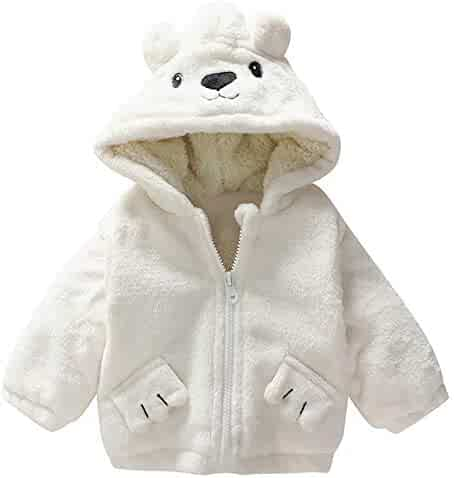 da8c4ac3d3b FORESTIME Adorable Warm Jacket for Baby Girls Boys Thick Cardigan Fleece  Hoodie Warm Outwear with Ear