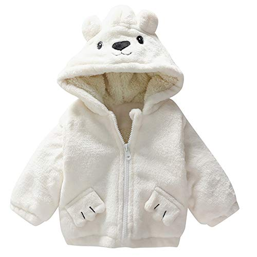 Unisex Baby Bear Cartoon Fleece Hooded Jacket Outerwear Zipper Winter Warm Coat (18-24 Months, (Stitch Insulated Jacket)
