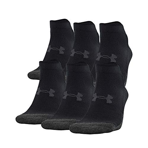 Under Armour Adult Performance Tech Lo Cut Socks (6 Pairs), Shoe Size: Mens 4-8, Womens 6-9, Black