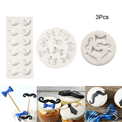 Alexless 3Pcs Little Man Theme Silicone Molds Mini Mustache Tie Bow Cake Fondant Molds for Baby Shower Birthday Party Candy Choloate Cookie Decoration