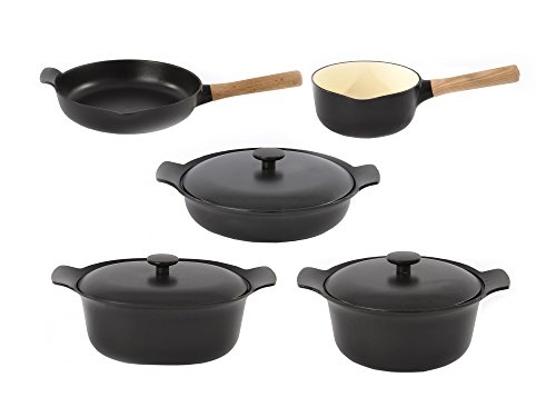 Berghoff RON Cookware Set Cast Iron Sauce Pan, Covered Deep Skillet, Covered Casserole dish, Fry Pan, 8pc, Black