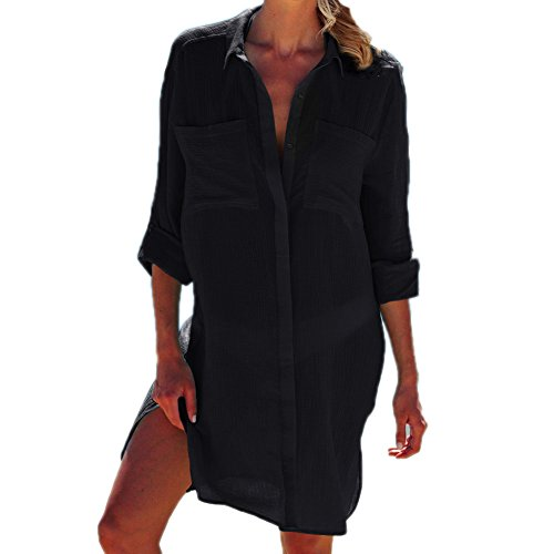Button Front Suit - Lishengping Womens Front Button Shirt Dress Cotton Coverups Swimsuit Bikini Cover up Dress
