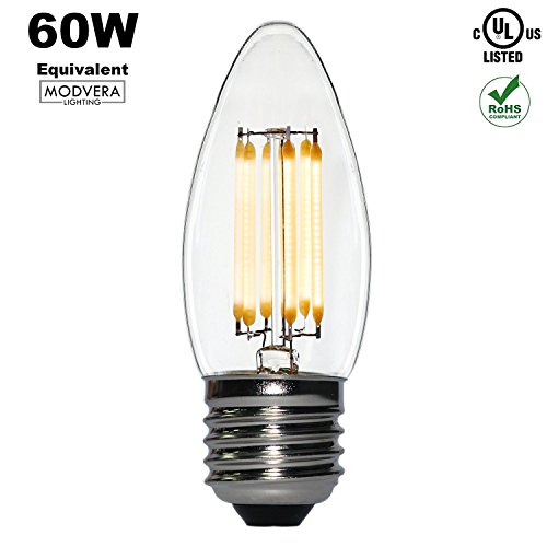 Modvera 60w Equal LED Chandelier Bulb Blunt Tip 5 Watt Warm White 2700K E26 Base LED Candelabra Bulbs All Glass Bulb e26 Candelabra Base, UL Listed & RoHS Compliant