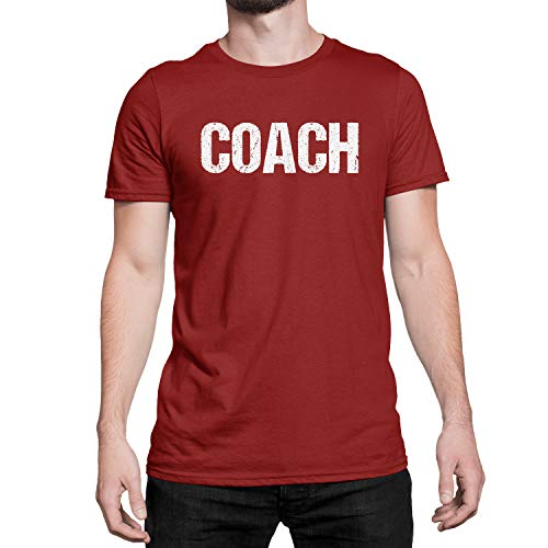 Coach T-Shirt Adult Mens Tee Shirt Front Screen Printed Tshirt (Maroon-White, Large)