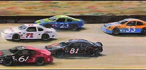 Wallpaper Border Kids Boys or Girls Sports Car NASCAR Racetrack Race Cars Track