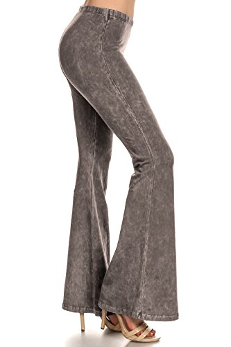 Zoozie LA Women's Bell Bottoms Tie Dye and High Waist  Yoga Pants, Taupe Gray, Large