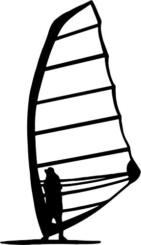 (BEARGRAPHIX Windsurfer Windsurfing Decal Sticker Car Motorcycle Truck Bumper Window Laptop Wall Décor Size- 6 Inch Tall Gloss Black Color)