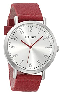 Ferenzi Women's | Fashion Minimalist Silver Watch with Red Soft PU Leather Band FZ17104