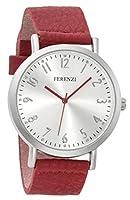 Ferenzi Women's | Fashion Minimalist Silver Watch with Red Soft PU Leather Band FZ17104