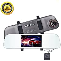"Dual Lens Car Camera, MAYOGA FHD 1080P Front and Rear Dash Cam Dashboard Vehicle Camera DVR Camcorder On-dash Video Rearview Mirror Recorder 170° Wide Angle/5"" IPS Screen/G-Sensor/Loop Recording/WDR"