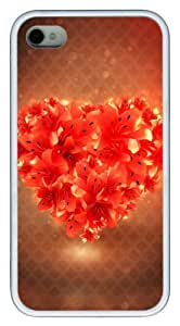 iphone 4 case luxury Red Heart Flowers TPU White for Apple iPhone 4/4S