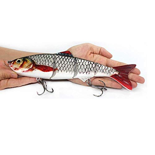 DOITPE Lifelike 4 Segment Big Giant Sinking Fishing Bass Lures Artificial Hard Bait Swimbait with Treble Hooks Fish Tackle Kits in Freshwater and Saltwater,10Inch/4.76oz (D, 10Inch/4.76oz)