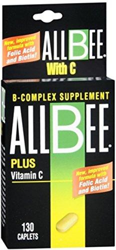 Allbee Caplets Plus Vitamin C 130 Caplets (Pack of 6) by Allbee