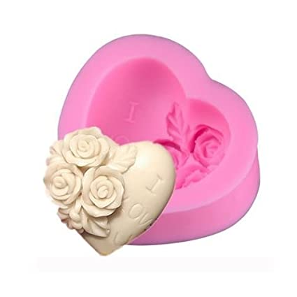 3d forma de corazón rosa molde de silicona moldes para tartas Fondant Cupcake Boda Fiesta de