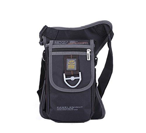 Kawei Knight Nylon Messenger Shoulder Leg Bag Fanny Pack Color Black