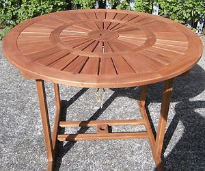 Chatsworth 4 Seater Round Outdoor Garden Patio Table Solid Acacia Wood