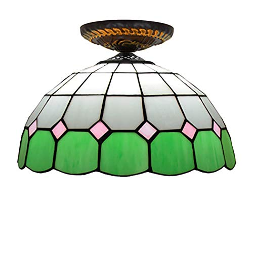 Mediterranean Tiffany Ceiling Lamp Colored Checkered Pattern Glass Shade 12 Inch Wide Ceiling Pendant with Fixture for Dinner Room Living Room,B