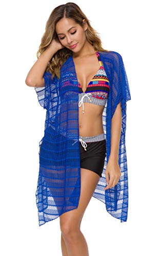 Costyleen Summer Womens Beach Wear Cover up Swimwear Bikini Wave Patterns Beach Dress Blue S
