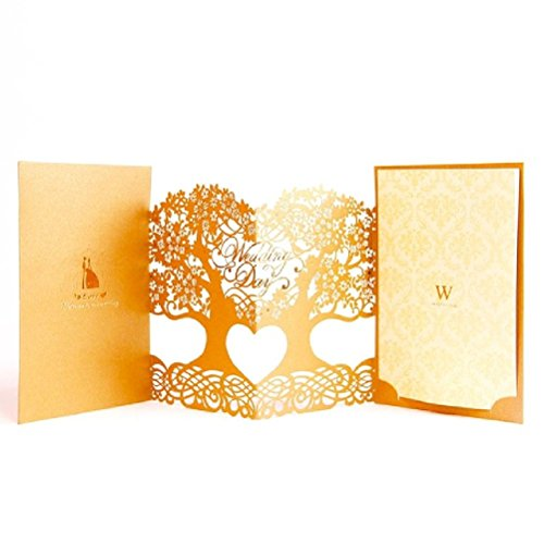 3D Laser Cut Mariage Blank Inner Side Wedding Invitations Tree Design Greeting Cards With Envelope