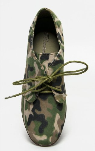 Breckelles SANDY-31 Basic Classic Lace Up Flat Oxford Shoe,9 B(M) US,Green Camouflage-31,9 B(M) US