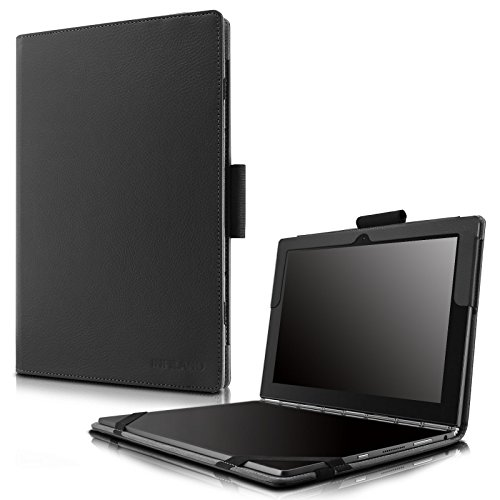 Infiland Lenovo Yoga Book Case, Folio Premium PU Leather Stand Cover For Lenovo Yoga Book 2-in-1 10.1-Inch tablet (Android and Windows Version) -Black