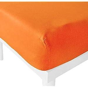 Kasa Shop Outlet Lenzuolo con Angoli in Puro Cotone (Arancione, Singolo 90x200cm) 1 spesavip