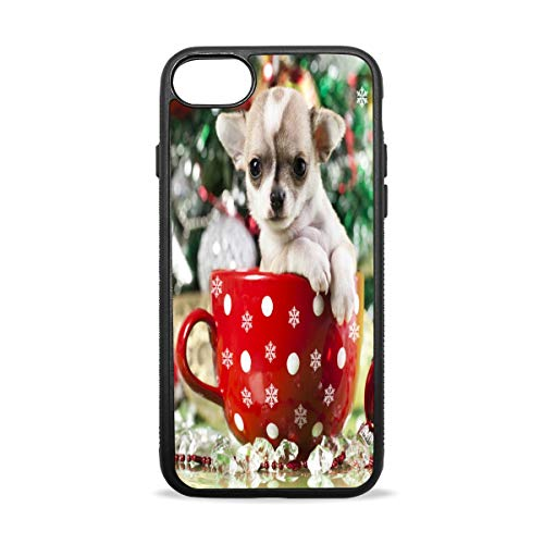 Christmas Dog Cute Tiny Teacup Poodle Pattern Soft Flexible TPU Rubber Silicone Back Protective Cover Slim Fit Case for iPhone 7