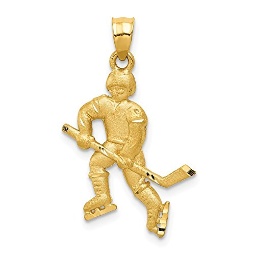 14k Yellow Gold Hockey Player Pendant Charm Necklace Sport Fine Jewelry Gifts For Women For -