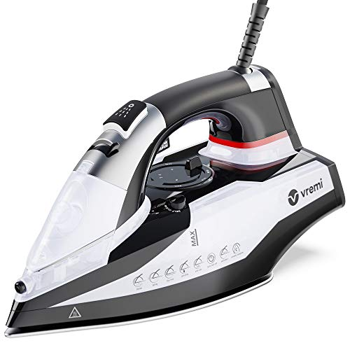 Vremi Steam Iron - 1800 Watts 120 Volts Steamer for Clothes with 350 mL Water Tank Capacity - Ceramic Coating Soleplate Fabric Iron with 8 feet Power Cord, 3 Way Auto Shut Off & Self Cleaning Function